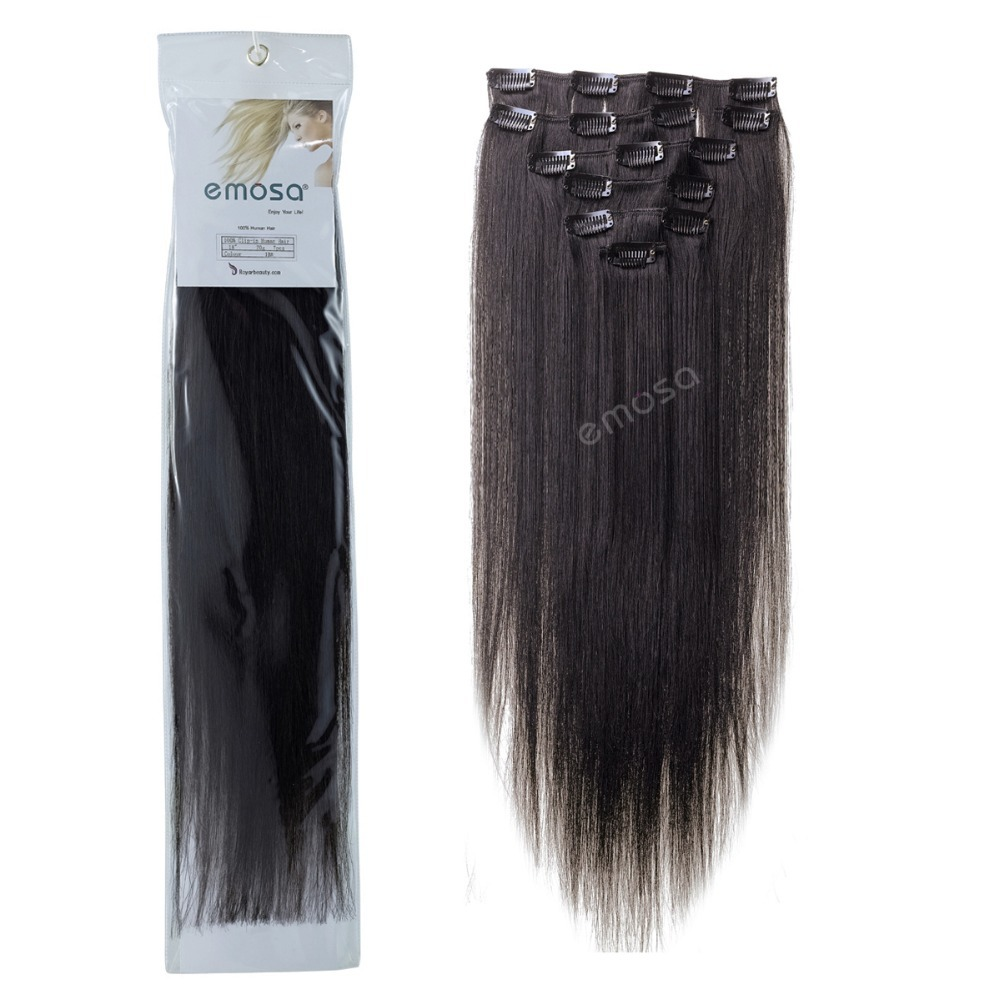 "Lina #1B Natural Black 90g 8pcs 20"" 22"" Clip In Human Hair Extensions Brazilian Hair Remy   Human hair With retail packaging"