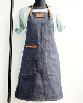 Denim apron custom made LOGO net coffee bar milk tea dessert flower shop hairdressing work uniforms