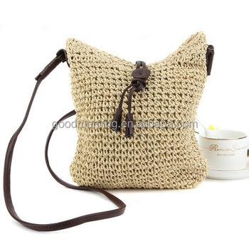 Boho Style Crochet Straw Leather Drawstring Bag 2017 Trend