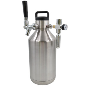 Popular gift high quality 4l Vacuum insulated stainless beer growler for drinking beer water tea coffee