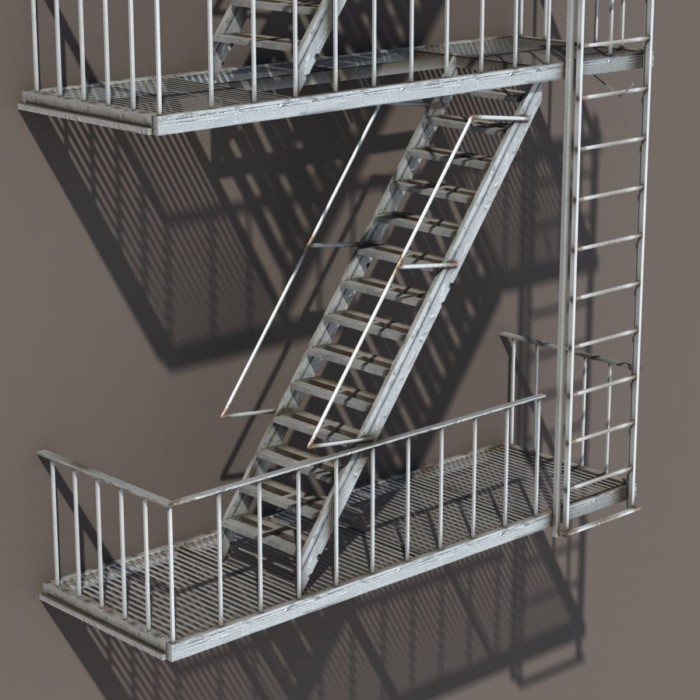 Exterior Used Metal Fire Escape Stairs Design