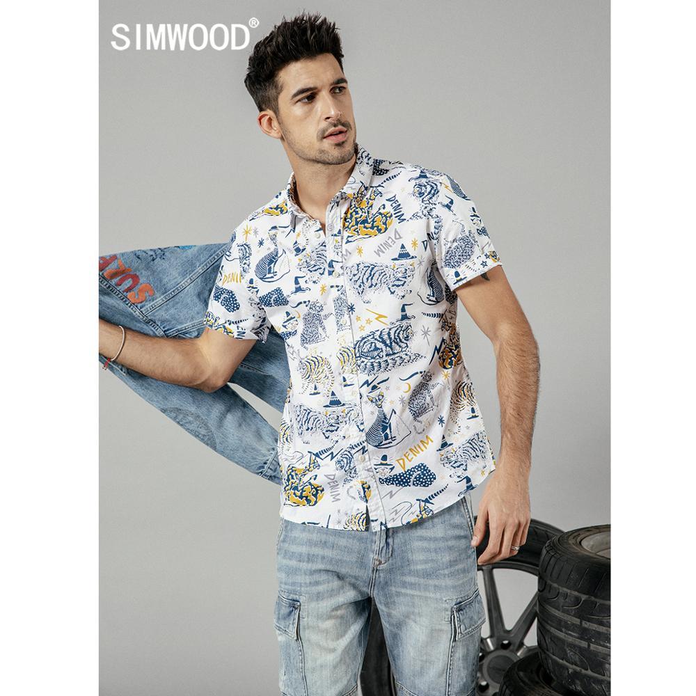 SIMWOOD 2019 summer new cat print short sleeve t-shirts men 100% cotton fashion hawaii shirt plus size brand clothing 190264