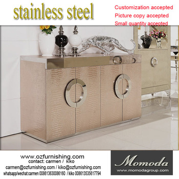 F421 Modern Contemporary Stainless Steel Silver/golden Imitated Leather  Luxury Neoclassic Sideboard Buffet Table Shoe Part 88
