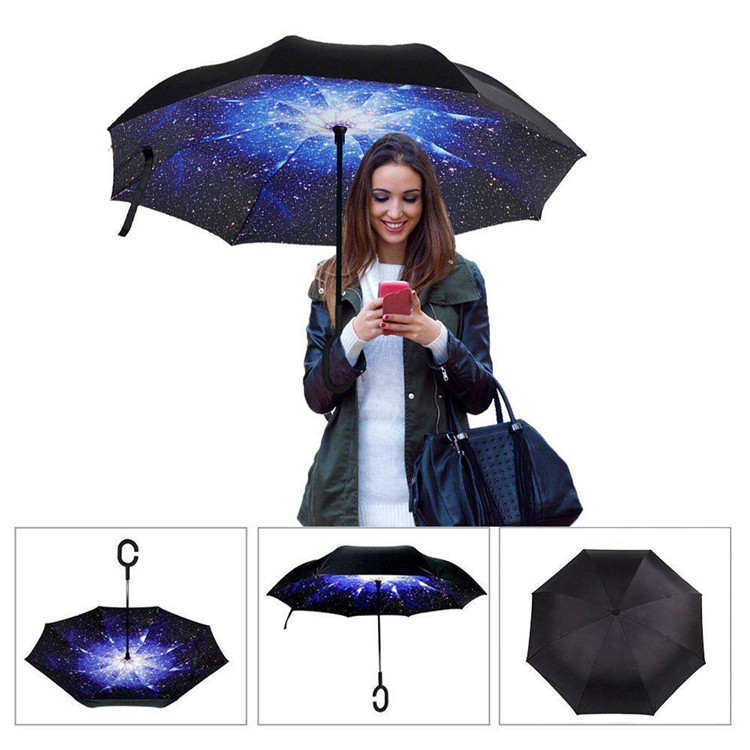 Double Layer inside printing star inverse umbrella