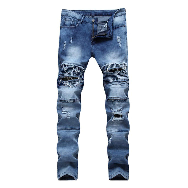 Memoriesed 2018 Jeans Hip hop Rock Moto Mens Designer Clothes Ripped Skinny Denim