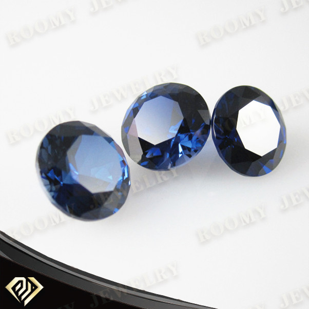 AAA 7mm round <strong>diamond</strong> cut synthetic stone blue sapphire