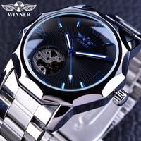 Winners blue transparent skeleton relojes men's watch top brand luxury automatic mechanical clock reloj hombre Swiss watch