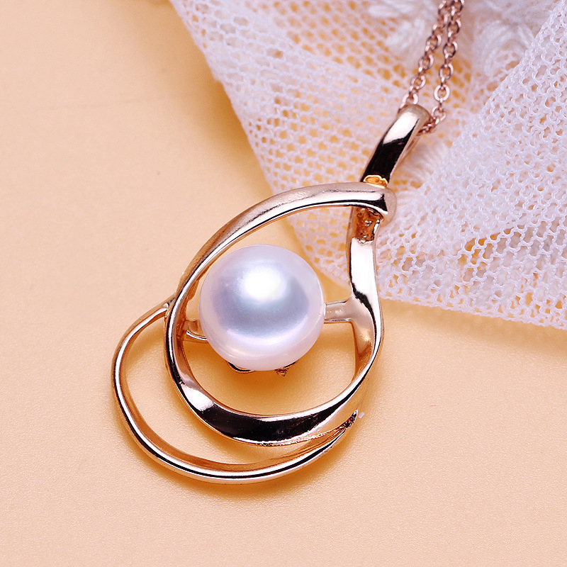 SJPN25 Fine Jewelry 925 Sterling Silver High Quality Polish Craft Rose Gold Plating Teardrop Pearl Necklace