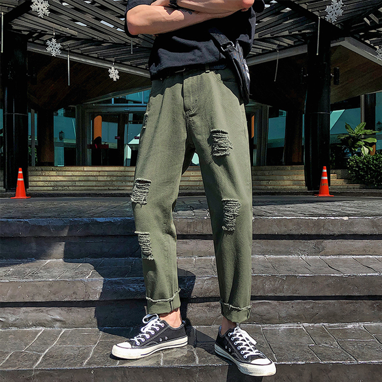 Quickly delivery breathable wholesale men green zip  jeans denim pants casual