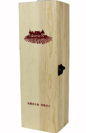 hot sell wooden single wine box with customized logo