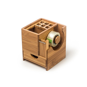 Bamboo Office Caddy Desk Organizer With Pen Holder, Tape Dispenser, Storage  Cubby And Pull