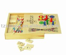 Mini wooden game set 4 in 1 game in box 8808