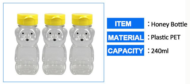Bpa ücretsiz 240 ml pet plastik sıkmak bal hİdrolİ şİşelerİ