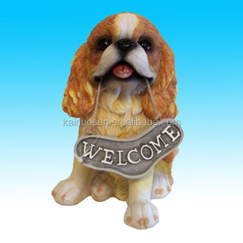 D coration bienvenue petite r sine jardin chien figurine for Decoration chien resine