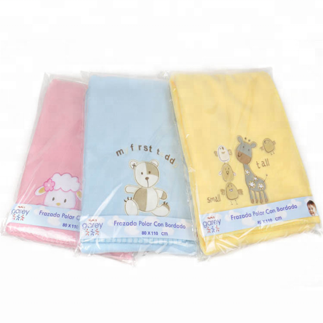 100% Polyester Polar Fleece Blankets Newborn Baby Blankets Embroidered Cartoon Design Warm Receiving Blanket