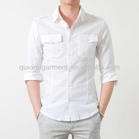 YOUTHUP Chemise Slim /à Manches Longues pour Hommes de Style Militaire en Coton avec Double /épaulettes
