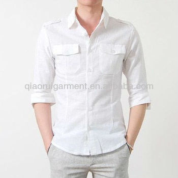 5aaeacfd35 Hombres 3 4 slim fit de manga doble bolsillos y hombreras camisa de lino