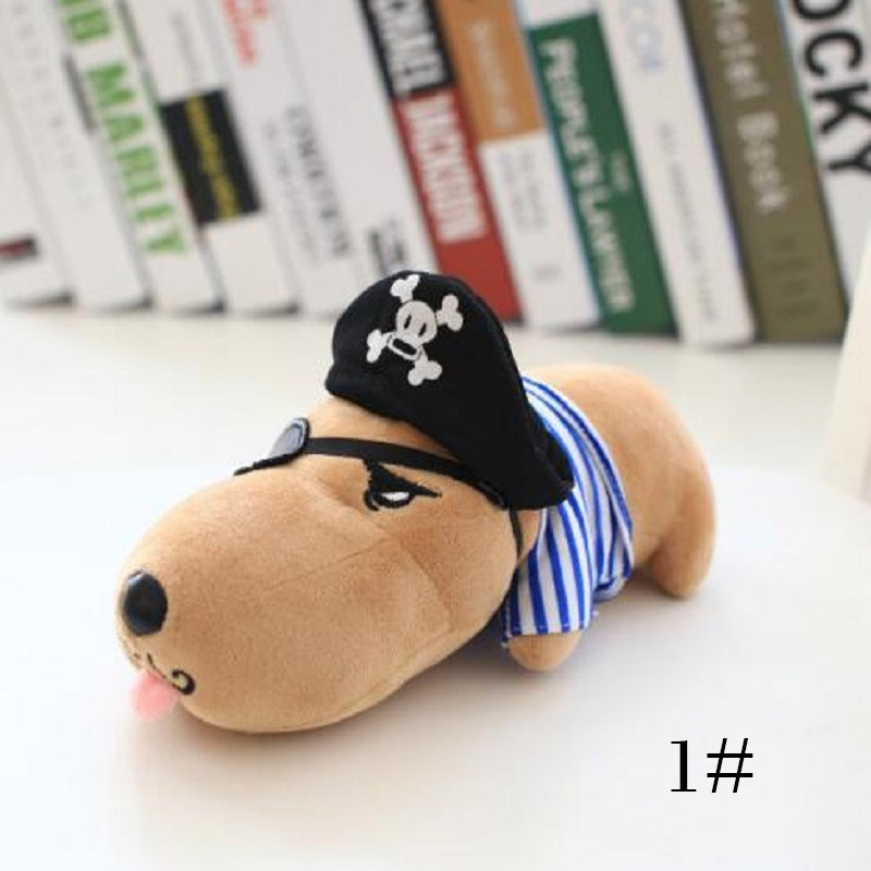 Creative Kids Toy Plush Pillow Cute Cartoon Dog Doll Indian Pirate Dress Dog Doll Toy