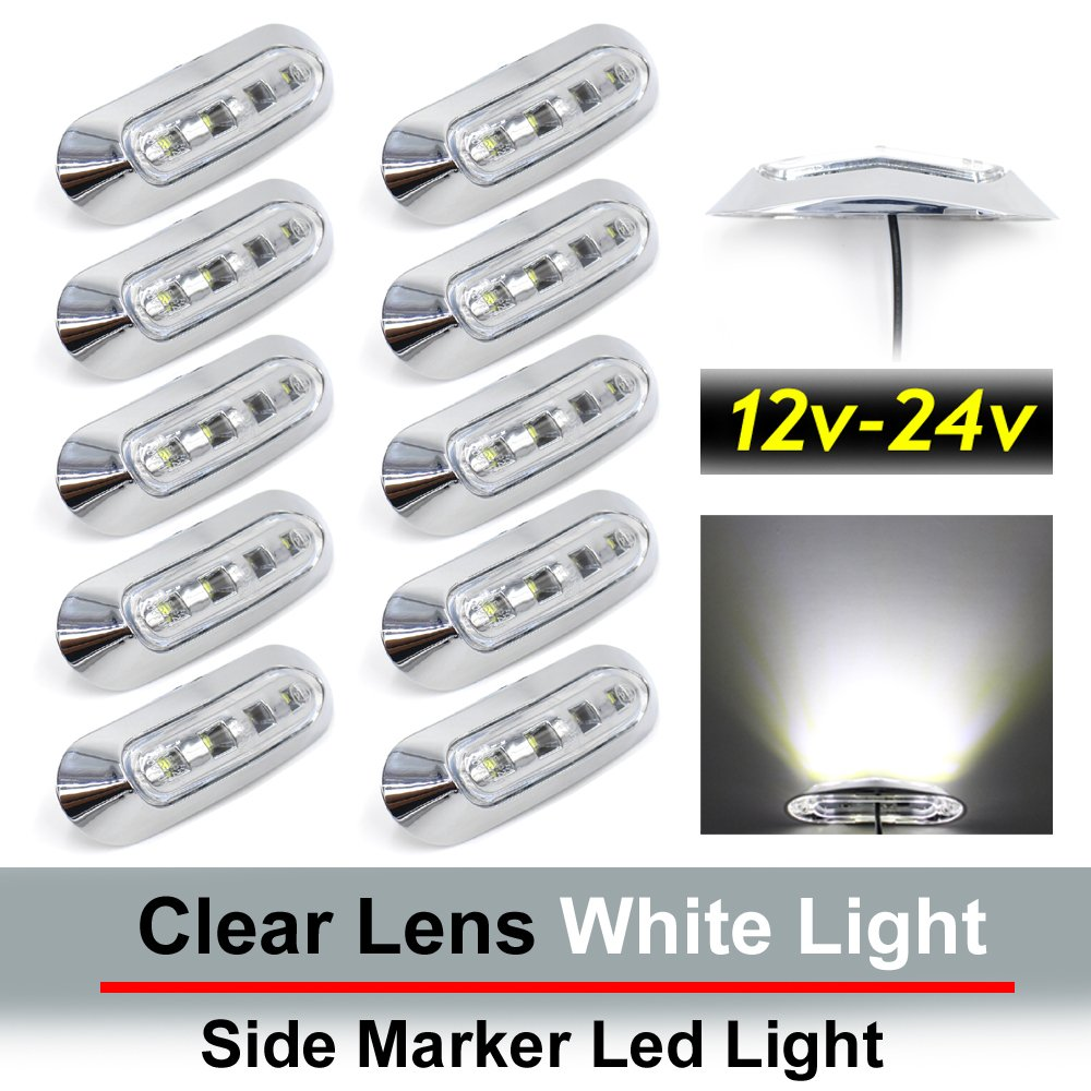 "10 pcs TMH 3.6"" submersible 4 LED Clear Lens White Light Side Led Marker 10-30v DC , Truck Trailer marker lights, Marker light amber, Rear side marker light, Boat Cab RV"