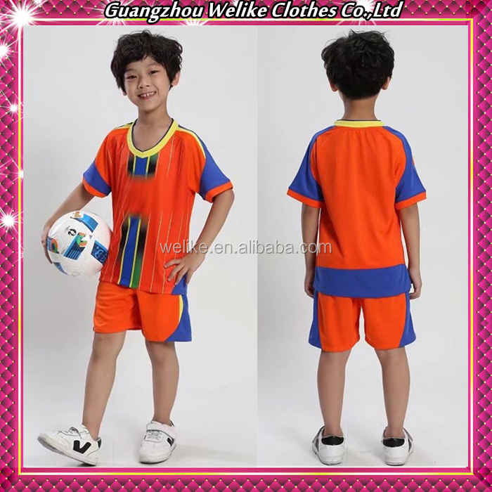 Orange football jerseys custom soccer uniform plain kids shirt and shorts