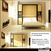 QUEEN SIZE WALL BED MURPHY BED FOLDING BED WITH BOOK SHELF