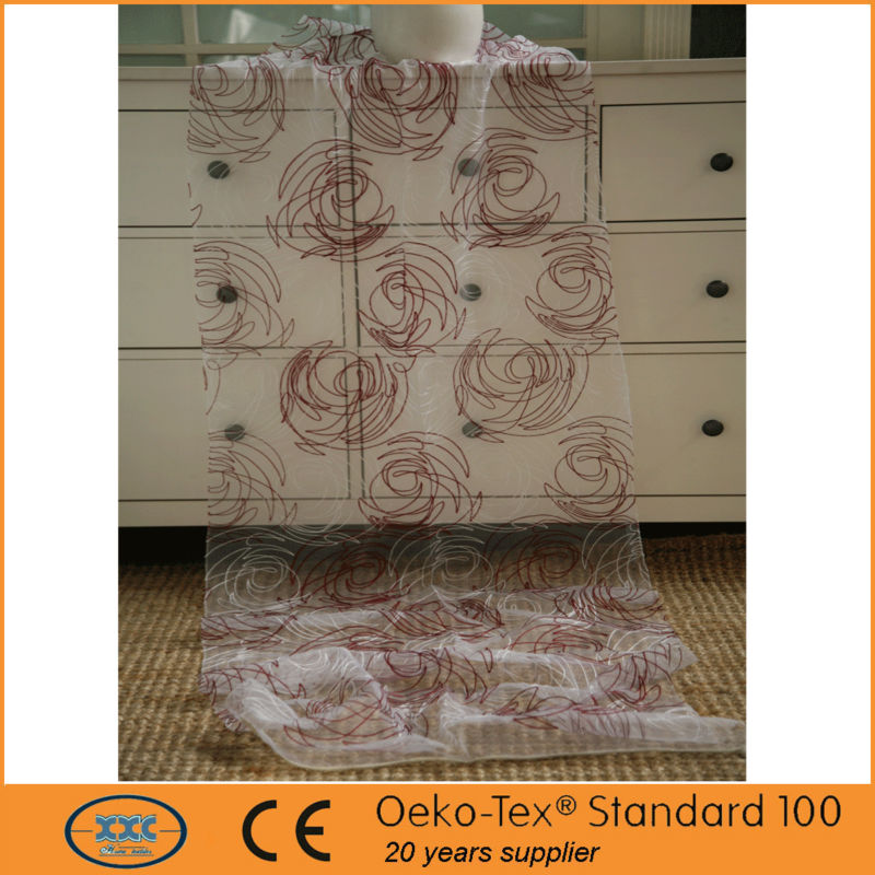 circle design chain embroidery organza curtain fabrics in China