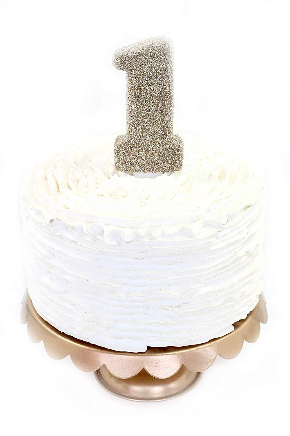 Get Quotations Number One 1 5 White Gold Glitter Birthday Candle Or Anniversary Cake And