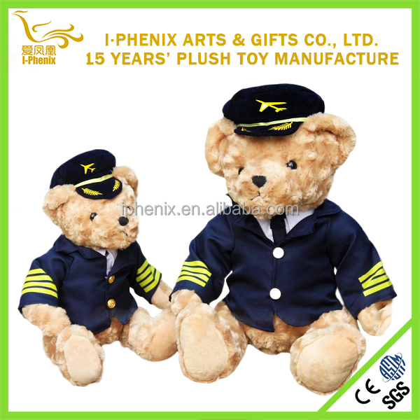 Thematic Personalized airline captain bear plush toys