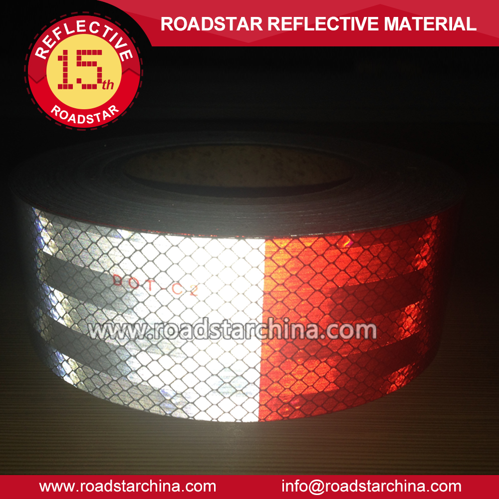 "2"" x 150' Reflective Red/White Safety DOT-C2 Tape for Trailer Vehicle Car Truck"