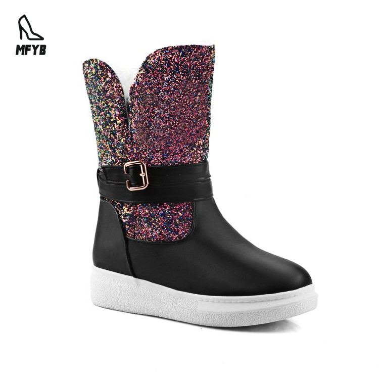 2018 new Casual <strong>Flat</strong> with Gold plated decoration Ladies snow boots