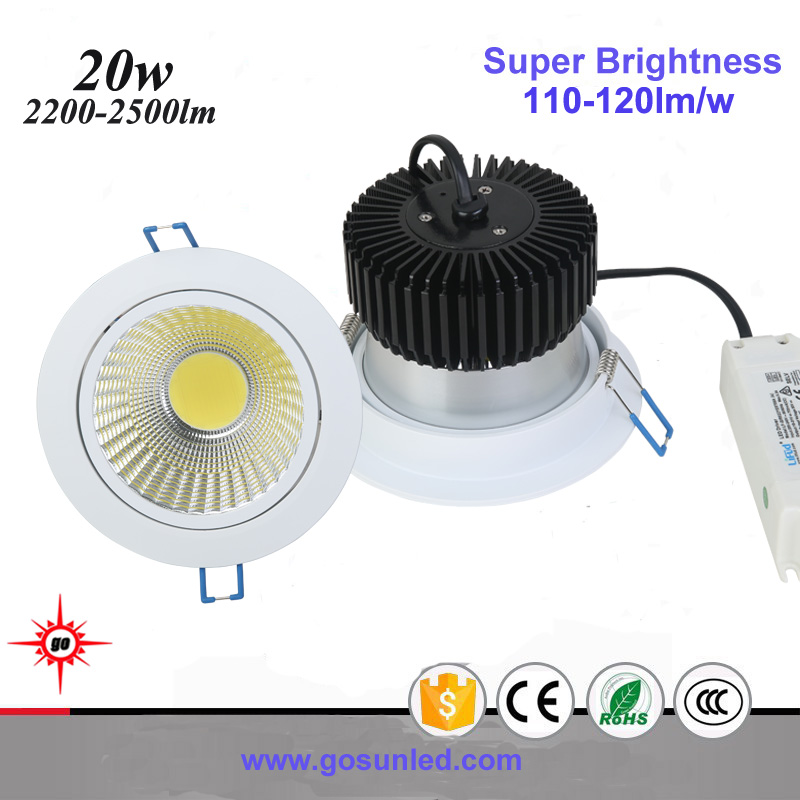white/silver/black housing Ra>90 20w dimmable led cob downlight