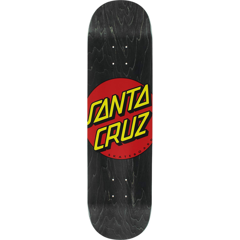 "Santa Cruz Skateboards Classic Dot Wide Tip Black/Red / Yellow Skateboard Deck - 8.25"" x 32"""