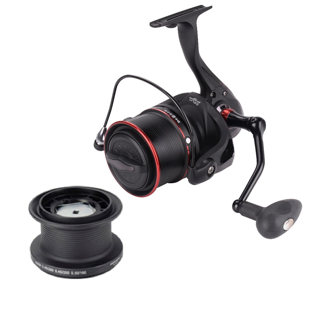 Drop Shipping TP Saltwater Spinning Reel - Interchangeable with Handle , 12+1 Bearings 4.1:1 Surf Reel, Black with red