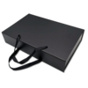 Luxury black custom logo wig magnetic closure foldable rigid cardboard paper hair extension packaging gift box with handle