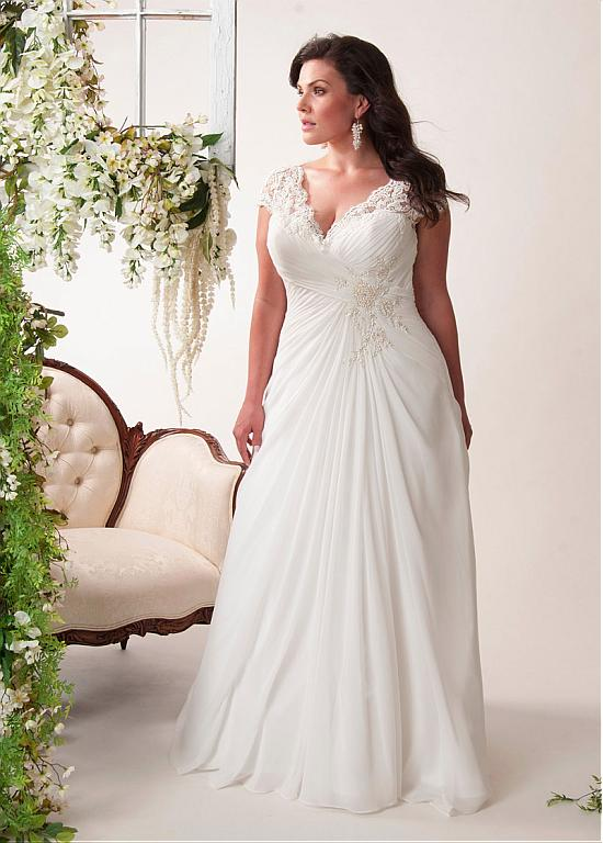 New 2016 Arrival Dress Elegant Applique Wedding Dresses Chiffon vestidos de novia Plus Size Beach Bridal
