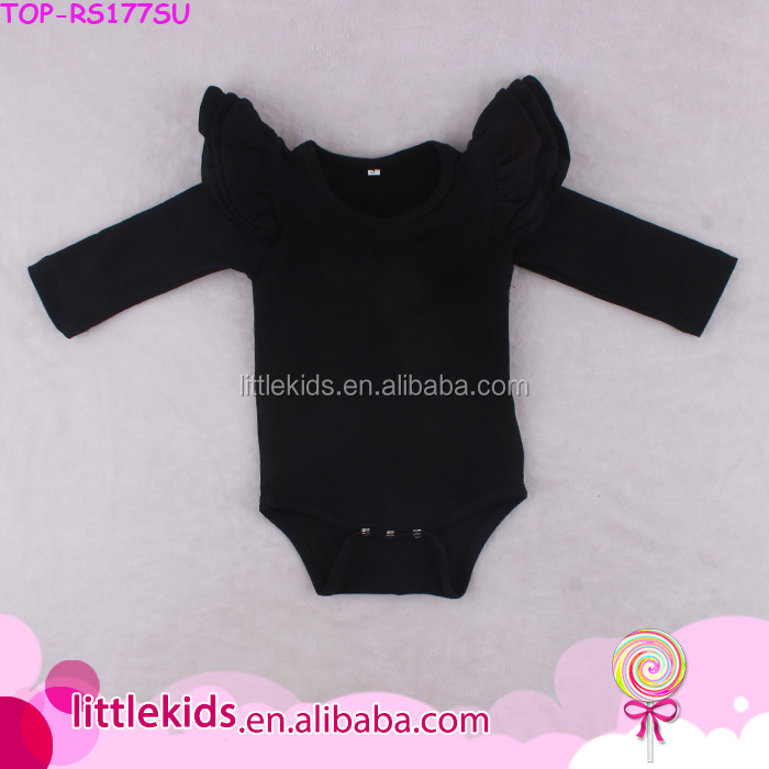 China Wholesale Newborn Baby Soft Cotton Clothes Modal Infant Carter Three Layers Flutter Long Sleeve Black Rompers For 0-24M