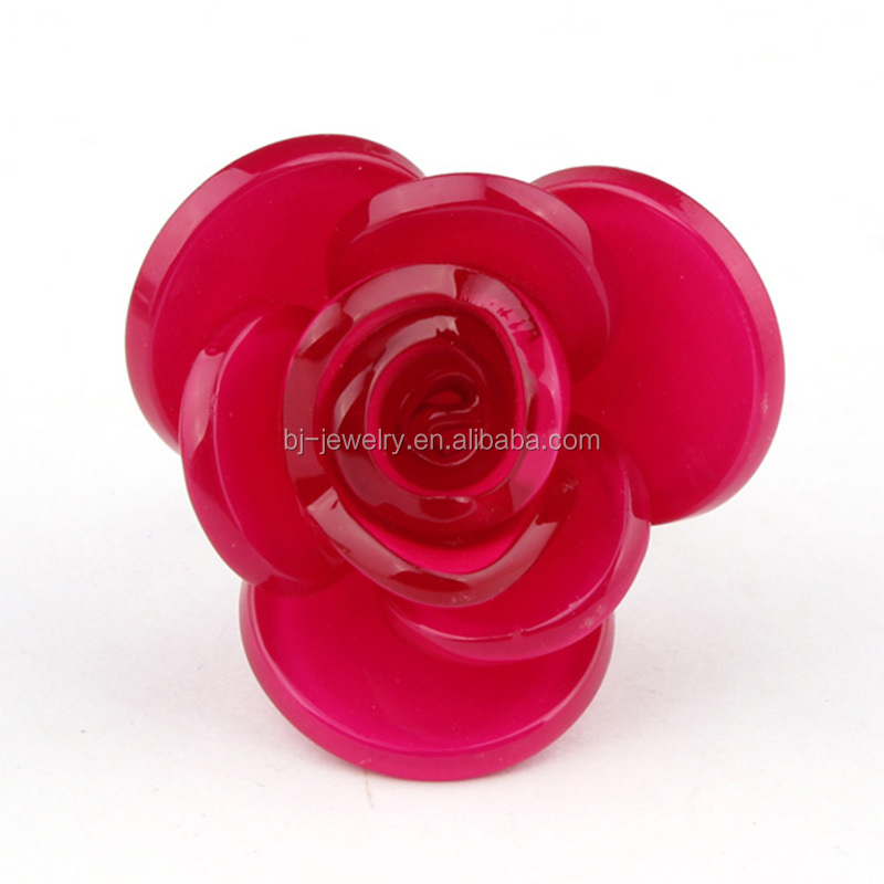 plastic rose flower girls ring jewelry