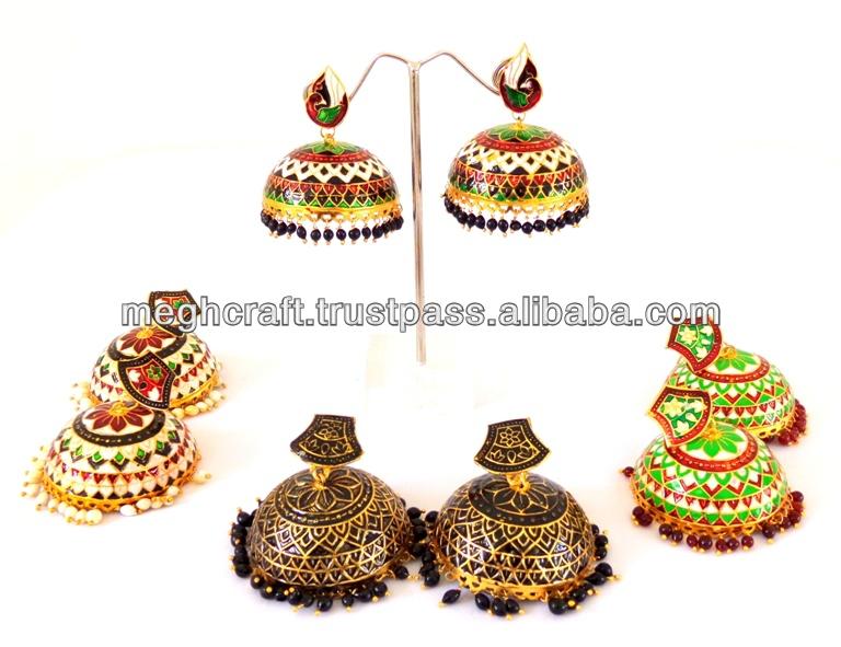 Handmade Meenakari Jumka Earring Jhumka Earrings Indian Jewellery Bollywood Thewa Online