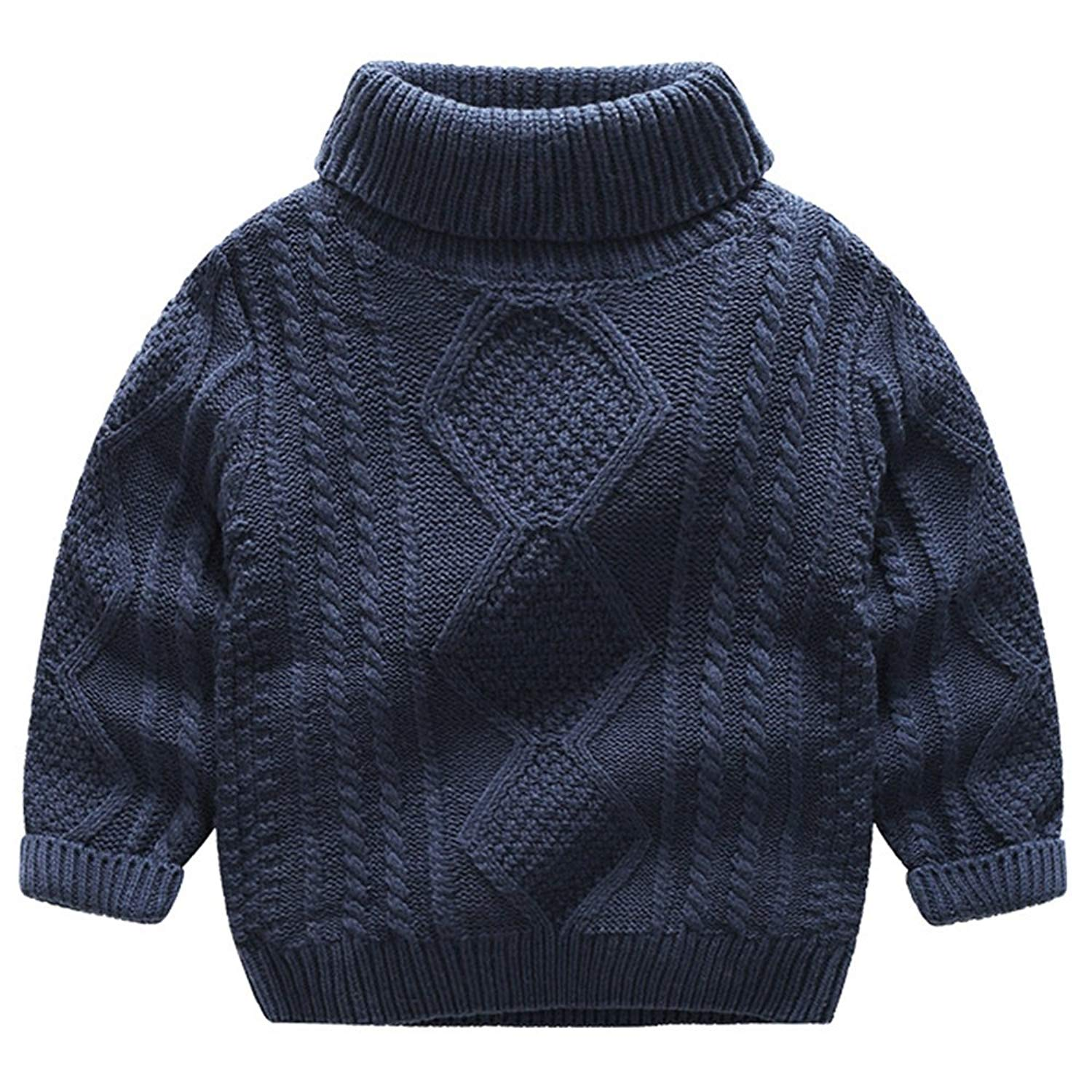 8ac5fd2290d3d7 Get Quotations · Baby Boy s Toddler Kids Child Vintage Twist Jacquard  Pattern Turtle Neck Ribbed Pullover Cable Knit Sweater
