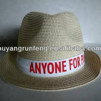 548babd7d25ac Papel de palha fedora trilby panamá chapéu chapeau com fita branca preta  com o logotipo personalizado