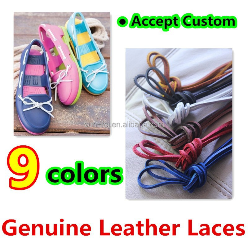 (MOQ:50pair)High Quality Genuine Leather Laces For Boots & Shoes~100% Real Leather Laces~75cm,90cm,100cm,120cm,130cm,140cm,150cm