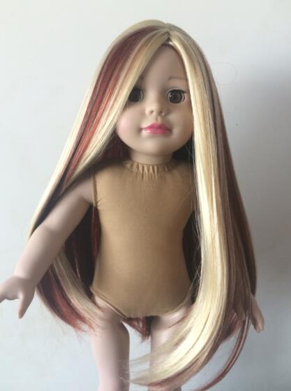 Size part colored Heat Resistant Hair American Girl cheap doll wig