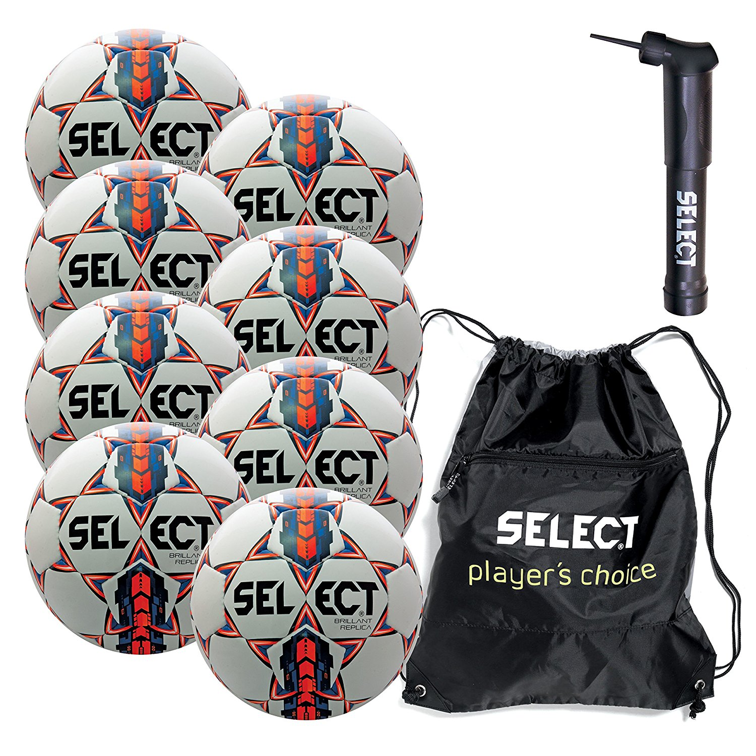 Select Brilliant Super Replica Soccer Ball with Sack Pack & Hand Pump (pack of 8)