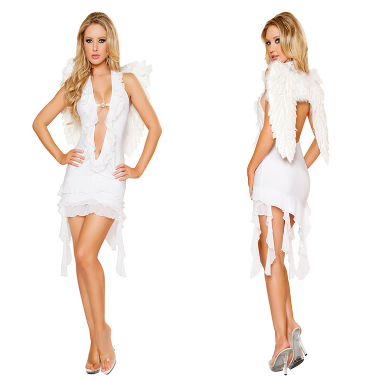 Adult Back Hollow Out Sexy Angle White Angel Costume ...