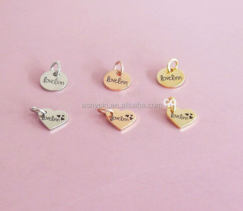 Gold Silver Copper 10mm Circle & heart shape metal logo jewelry charms