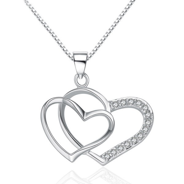 Products You Can Import From China Simple Valentines Gift Items Sterling Silver 925 Hollow Interlocking Heart shape <strong>Pendant</strong>