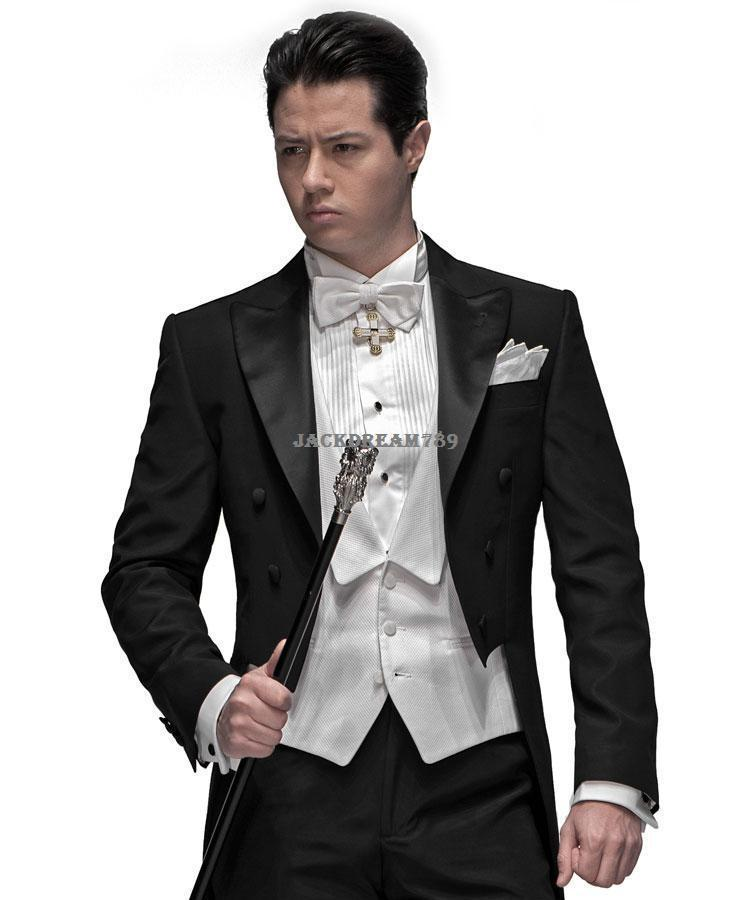 Custom made three pieces hot sale black tuxedos wedding suits groom tuxedos  men's dress classic groom tuxedos wedding suits