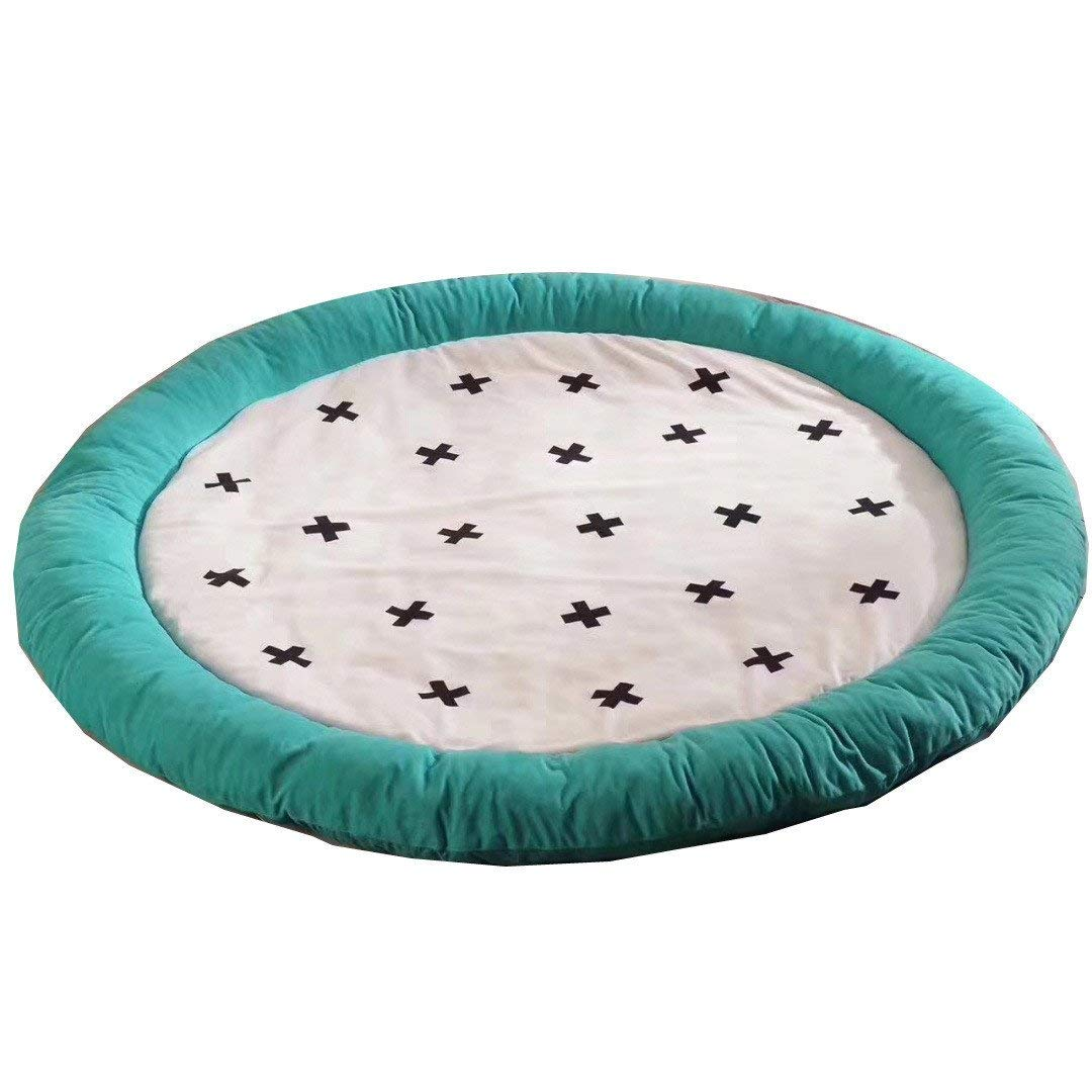 Cotton Filling Soft Fenced Round Rug Play Mat Extra-Thick for Kids Flannel Round Mat for Room Decor 58.5 x 58.5 in