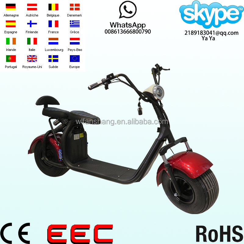 2017 Newest Citycoco Caigiees 1000w 60v harley two seats mobility electric scooter/bike removable battery