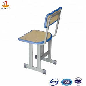 Double column stable top quality wood kid single desk chair and desk school furniture